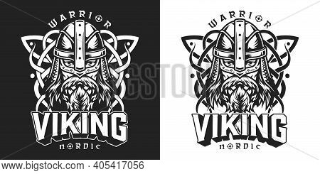 Viking Vintage Monochrome Label With Letterings Medieval Celtic Ornament Bearded And Mustached Nordi