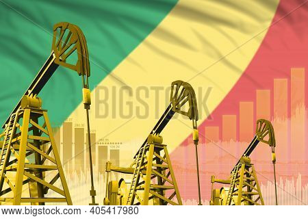 Congo Oil And Petrol Industry Concept, Industrial Illustration On Congo Flag Background. 3d Illustra