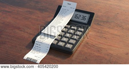 Sales Receipt And Calculator On Wooden Background. 3D Illustration