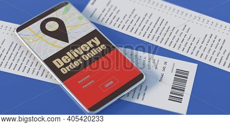 Smartphone And Paper Receipts On Blue Background. 3D Illustration