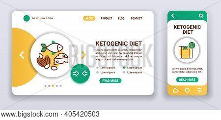 Ketogenic Diet Web Banner And Mobile App Kit. Health Care. Outline Vector Illustration