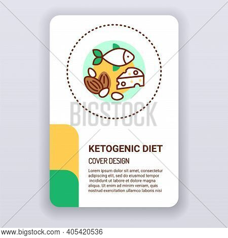 Ketogenic Diet Brochure Template. Health Care Cover Design. Print Design With Linear Illustration Ca