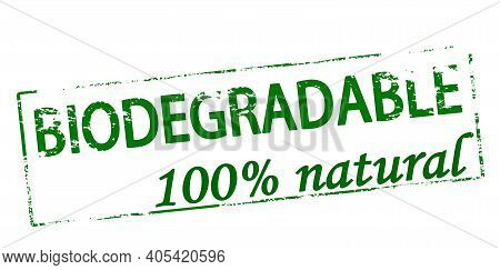 Rubber Stamp With Text Biodegradable One Hundred Percent Natural Inside, Vector Illustration
