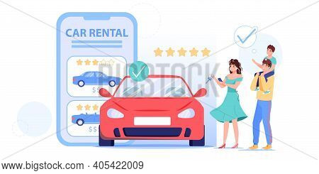 Vector Cartoon Flat Family Characters Rent Car, Happy Smiling People, Parents And Kid Renting Automo
