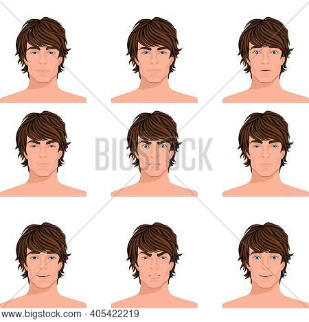 Young Dark Hair Man Emotions Range Of Angry Puzzled Surprised Alert And Happy Head Portraits Collect