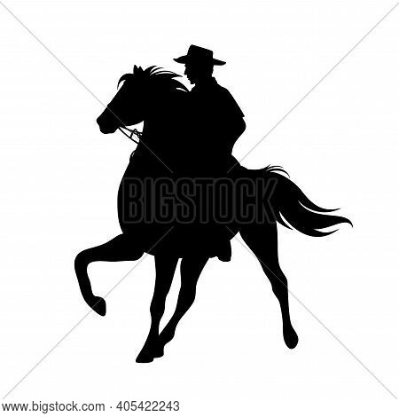 Cowboy Rider Riding Standing Horse With One Leg Up - Wild West Ranger Black And White Vector Silhoue