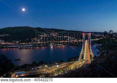 Rande Bridge In Vigo At Night, With Moon