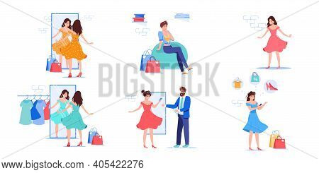 Set Of Vector Cartoon Flat Woman Characters Trying New Dress Outfit.happy Girl At Fashion Shop Fitti