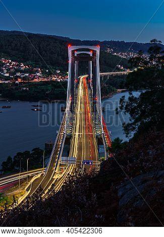 Rande Bridge In Vigo, Night View. Highway