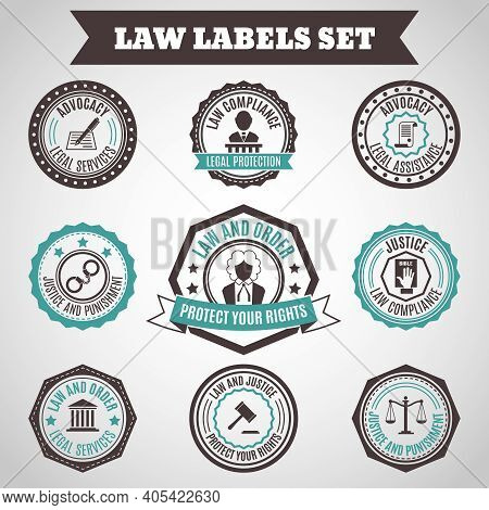 Legal Protection Services Layer Crime And Punishment Labels Set Isolated Vector Illustration