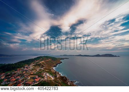 View Of Cabo Home And Cies Islands From Facho De Donon, Cangas, Galicia
