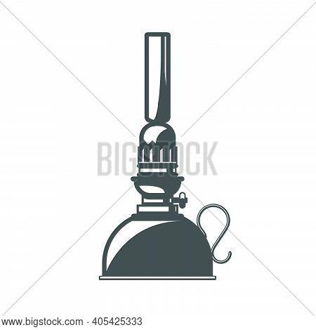 Silhouette Of Vintage Oil Lantern, Oil Or Kerosene Camping Lamp, Vector
