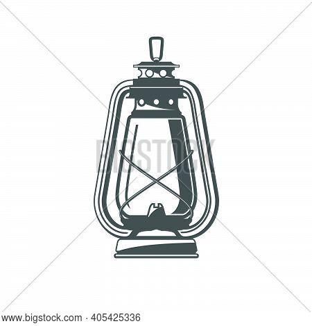 Old Oil Lamp, Kerosene Camping Lantern Silhouette, Oil Lamp Icon, Vector