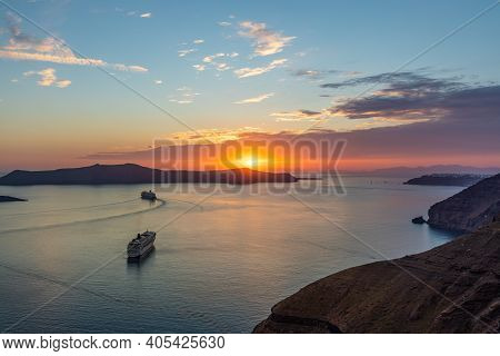 Fantastic Evening View Of Santorini Island. Picturesque Summer Sunset On Famous View Resort Hotel. F