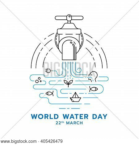World Water Day Banner With Abstract Line Water Falling From The Tap And Icons About The Benefits Of