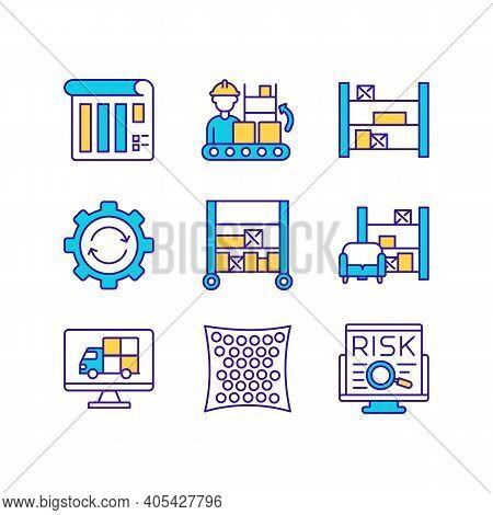 Warehouse Management Rgb Color Icon. Storehouse Work. Manufacture Processes. Merchandise Distributio