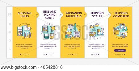 Storehouse Onboarding Vector Template. Shipping Computer. Bins And Picking Carts. Shipping Scales. R