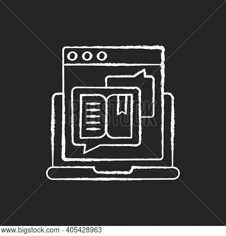 Storytelling Chalk White Icon On Black Background. Social Media Content. Online Visual Presentation.