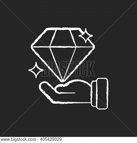 Valuable Chalk White Icon On Black Background. Luxury Jewelry. Millionaire Wealth. Precious Gemstone