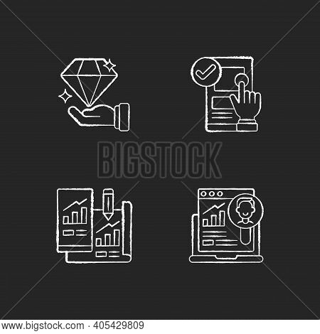 Website User Experience. Chalk White Icons Set On Black Background. Site Usability. Valuable Product