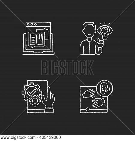 User Experience Management Chalk White Icons Set On Black Background. Storytelling For Online Blog.