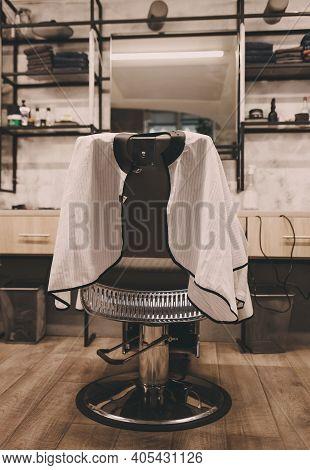Barbershop Theme. Barber Shop Chair. Stylish Vintage Barber Chair. Barbershop Armchair, Modern Haird