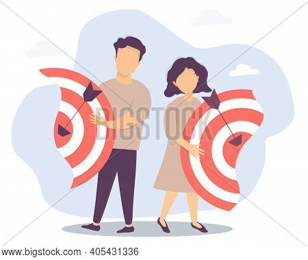 Vector Illustration Separating The Two Halves, Relationships And Teamwork, Collaboration And Collaps