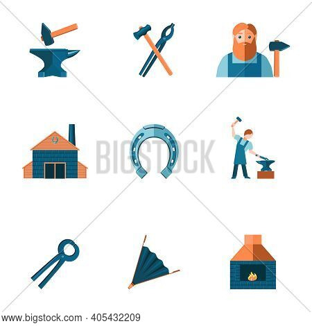 Decorative Blacksmith Shop Anvil Steel Tongs Tools And Horseshoe Pictograms Icons Collection Flat Is