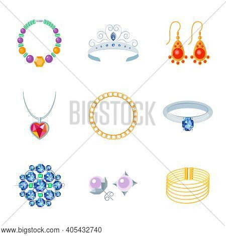 Jewelry Flat Icons Set Of Necklace Tiara Earrings Isolated Vector Illustration