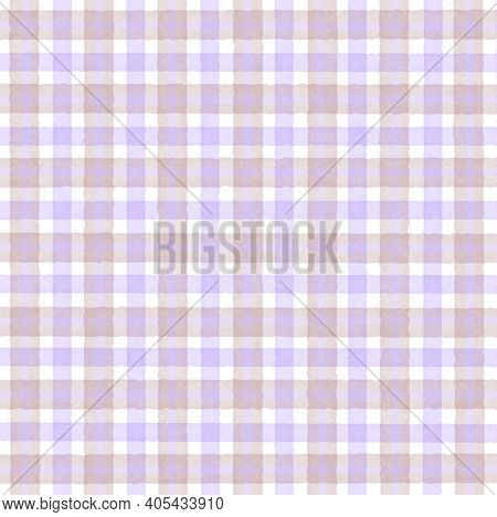Beige Lilac Lavender Vintage Checkered Background With Blur, Gradient And Grunge Texture. Classic Ch