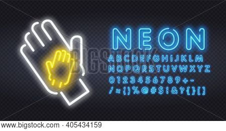 Two Neon Hands. Applause Neon Icon. Clapping Hands On Brick Wall Background. Show Concept. Vector Il