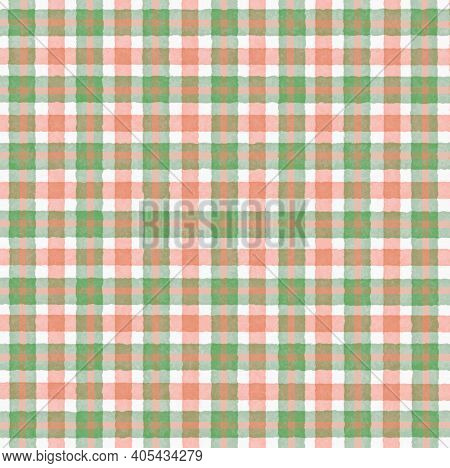 Green White Pink Orange Vintage Checkered Background With Blur, Gradient And Grunge Texture. Classic
