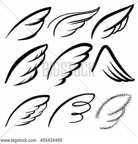 Angel Wings Icon Set Sketch, Stylized Bird Wings Collection Cartoon Hand Drawn Vector Illustration S
