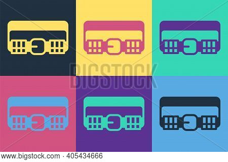 Pop Art Hunting Cartridge Belt With Cartridges Icon Isolated On Color Background. Bandolier Sign. Hu