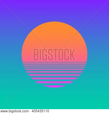Isolated Sunset Gradient On Turquoise Background. Vector Illustration Of Sun In Retro 80S And 90S St