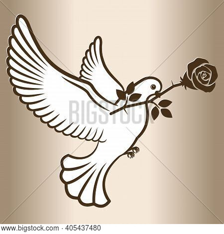 A Carrier Pigeon With A Flower. White Dove Flying With A Rose Flower. Post Pigeon. Vector Illustrati
