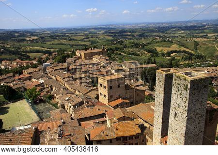 San Gimignano (si), Italy - April 10, 2017: View Of San Gimignano From The Top Of The Tower, Siena,