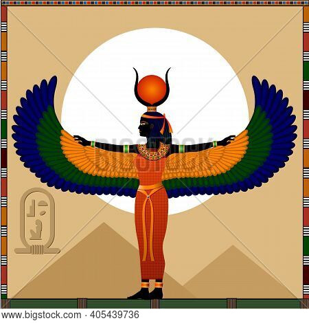Religion Of Ancient Egypt. Goddess Isis. Isis Is A Ancient Egyptian Goddess Of Motherhood, Medicine