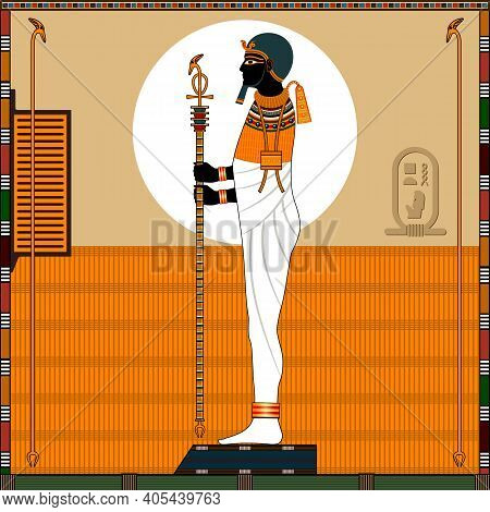Religion Of Ancient Egypt. God Ptah. Ptah Is A Ancient Egyptian Creator God, Patron Of Artists And C