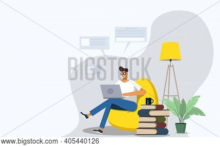 Freelance Worker. Man Works Comfortably On A Laptop At Home In A Chair. Freelance Male Character, Co