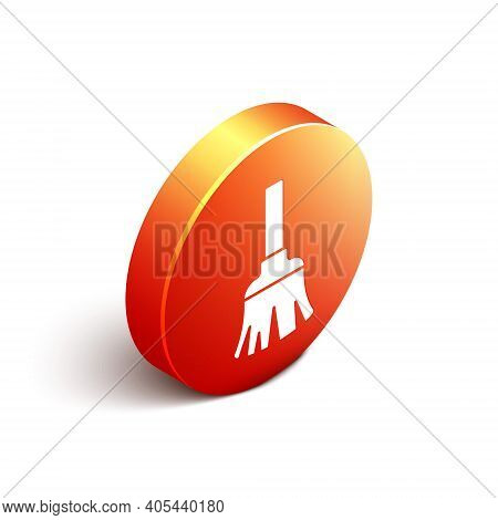 Isometric Feather Broom For Cleaning Icon Isolated On White Background. Feather Duster. Orange Circl