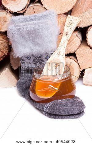 Honey and warm cotton socks