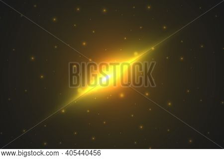 Astronomical Abstract Background. Bright Light In The Cosmic Sky. Shining Stars And A Powerful Cosmi