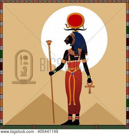 Religion Of Ancient Egypt. Goddess Sekhmet. Sekhmet Is A Ancient Egyptian Goddess Of Scorching Sun,