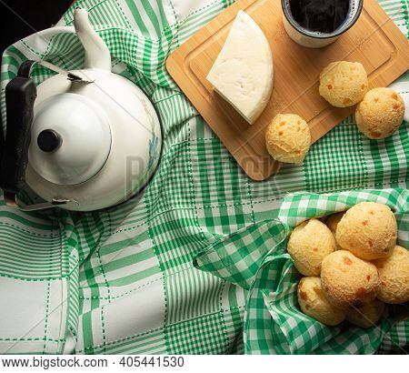Cheese Bread, Brazilian Breakfast Arrangement, Pao De Queijo, White Cheese, Kettle And Accessories,