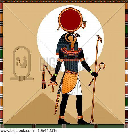 Religion Of Ancient Egypt. The Sun God Ra. Ra Is The Ancient Egyptian God Of The Sun. Vector Illustr