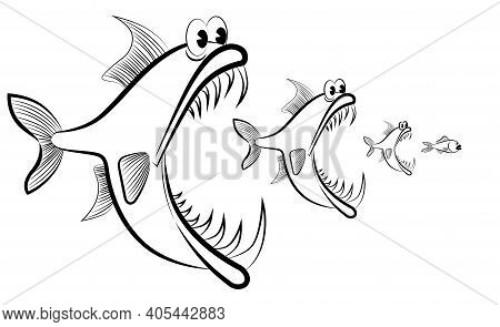 Abstract Image Of Fish Hunting Each Other Vector Illustration