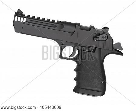 Sami-automatic Pistol That Is Chambered In A Magnum Cartridge Isolated On White.