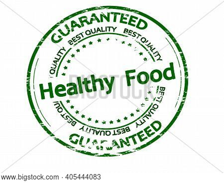 Rubber Stamp With Text Healthy Food Inside, Vector Illustration