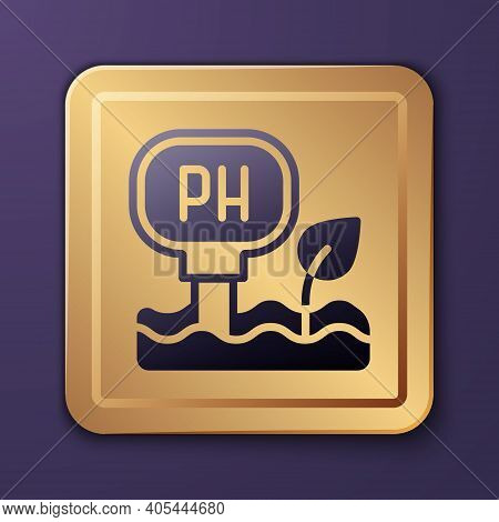 Purple Soil Ph Testing Icon Isolated On Purple Background. Ph Earth Test. Gold Square Button. Vector